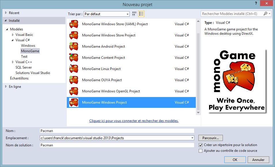 Développement de jeux avec MonoGame - Partie I